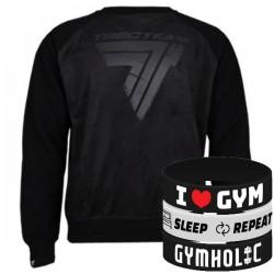 Trec Wear - Bluza Sweatshirt 016 BLACK ON BLACK