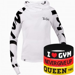 Trec Wear - Bluza Hoodie TRECGIRL 041 WHITE-BLACK