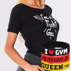 Trec Wear - Koszulka T-Shirt TRECGIRL 005 FIGHT GIRL BLACK