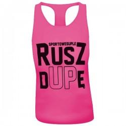 """SportoweSuple.pl - Tank Top 006 """"Rusz Dupę"""" różowy-fluor"""